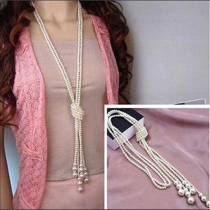 Elegant Long Pearl Necklace